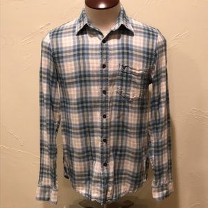 American Eagle Mens Small White Blue Plaid Flannel
